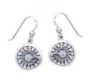 Sterling Silver Blue Topaz Compass Rose Earrings