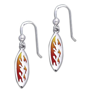 Sterling Silver Surfboard Earrings with Colored Fire