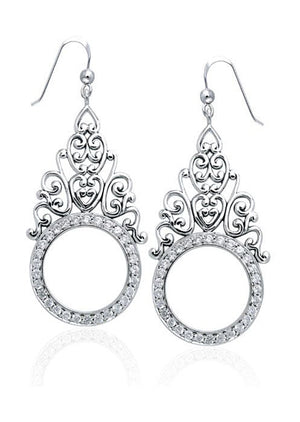 Sterling Silver Cubic Zirconia Circle Earrings with Intricate Scrolls