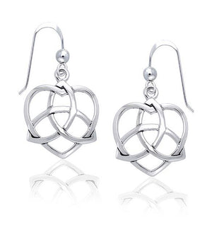 Sterling Silver Celtic Trinity Knot Heart Earrings