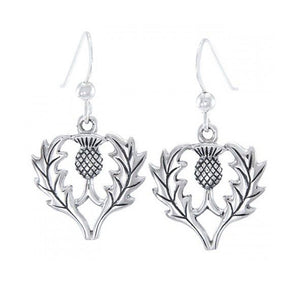 Sterling Silver Thistle Flower Earrings