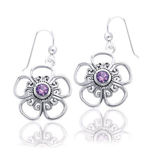 Sterling Silver Open 5 Petal Flower Earrings with Amethyst Center