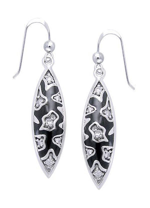 Sterling Silver Black Freeform Pattern Earrings with White Cubic Zirconia Accents