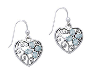 Sterling Silver Filigree Heart Earrings with Blue Topaz Flower
