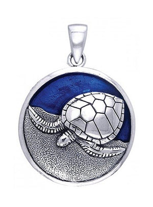Sterling Silver Round Turtle on the Beach Pendant