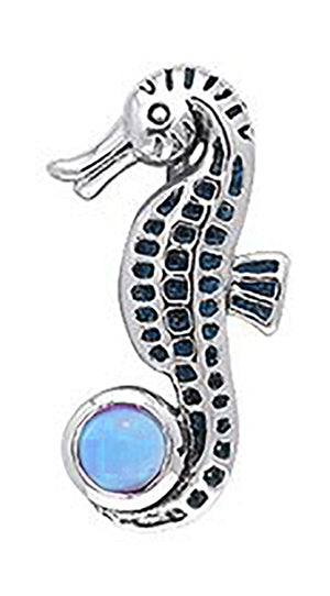 Sterling Silver Seahorse Pendant with Blue Topaz