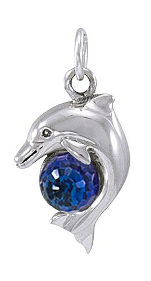 Sterling Silver Dolphin Pendant with Crystal Ball