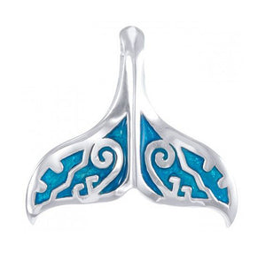 Sterling Silver Blue Whale Tail Pendant with Scroll Accents