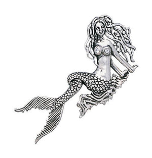 Sterling Silver Mermaid Pendant with Moveable Tail and White Glass Accents