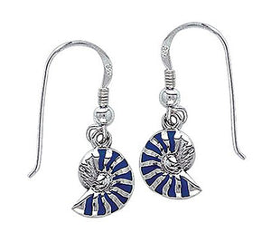 Sterling Silver Blue Nautilus Shell Earrings