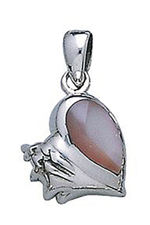 Sterling Silver Conch Shell Pendant with Mother Of Pearl