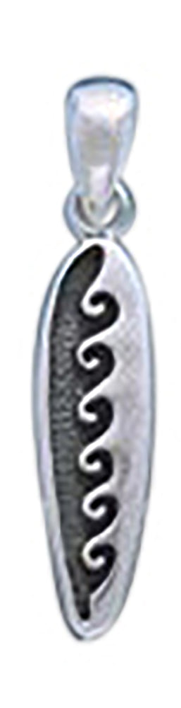 Sterling Silver Wave Surfboard Pendant
