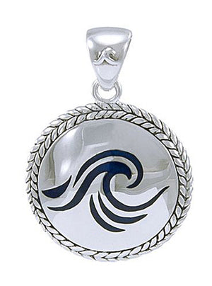 Sterling Silver Blue Wave Medallion Pendant with Braided Border