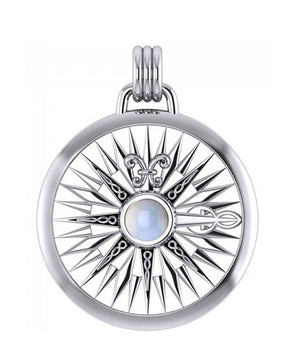 Sterling Silver Rainbow Moonstone Compass Rose Pendant