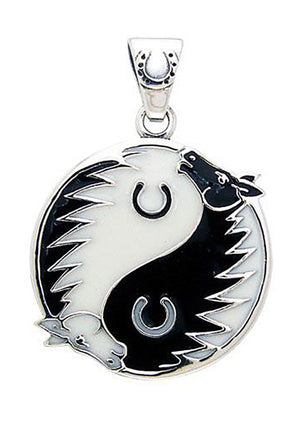 Sterling Silver Black and White Yin Yang Horse Pendant