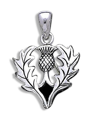 Sterling Silver Scottish Thistle Flower Pendant