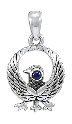 Sterling Silver Three Legged Kumano Crow Pendant with Lapis