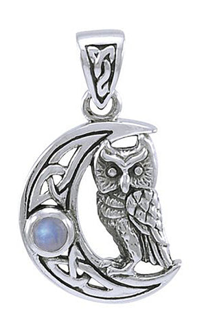 Sterling Silver Celtic Crescent Moon Pendant with Rainbow Moonstone and Owl