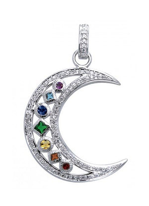 Sterling Silver Chakra Crescent Moon Pendant with Pave Cubic Zirconia Border