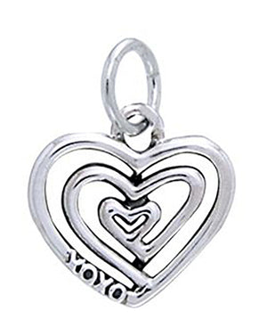 "Sterling Silver Spiral Heart Charm with ""Xoxo"" Message"