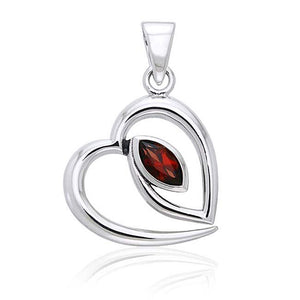 Sterling Silver Tipped Open Heart Pendant with Marquise Garnet