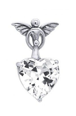 Sterling Silver Guardian Angel Pendant with Cubic Zirconia Heart
