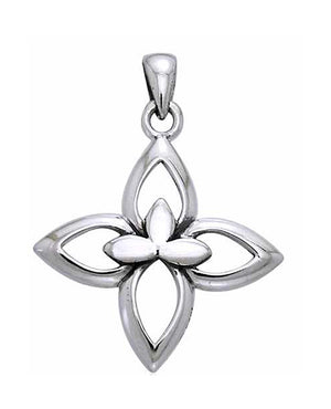 Sterling Silver Open Four Point Cross Pendant