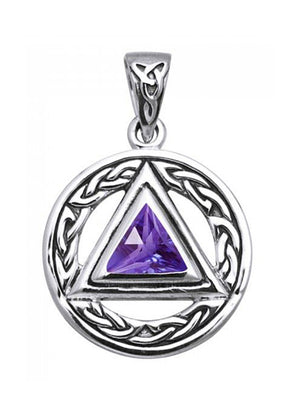 Sterling Silver Celtic Recovery Symbol Pendant with Amethyst Stone