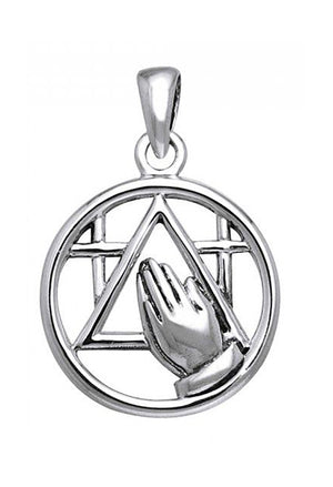 Sterling Silver Recovery Pendant with Praying Hands and Crosses
