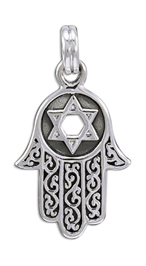 Sterling Silver Hamsa Hand Of God Charm with Star Of David