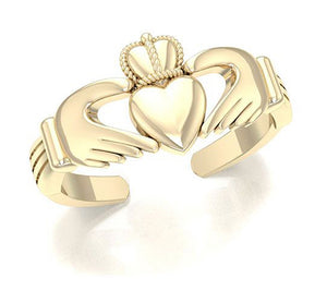 Sterling Silver 18 Karat Gold Plated Claddagh Toe Ring