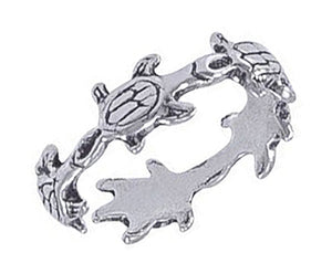 Sterling Silver Turtles Toe Ring