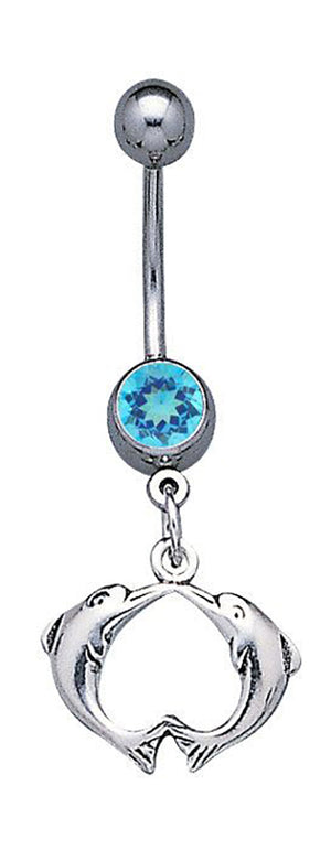 Sterling Silver Surgical Steel Kissing Dolphins Belly Button Ring with Blue Glass