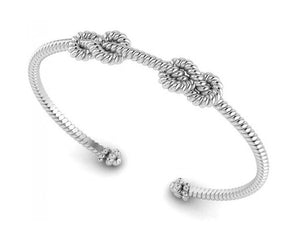 Sterling Silver Rope Cuff Bracelet with Double Knots