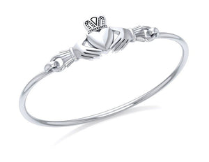 Sterling Silver Claddagh Bangle Bracelet with Latch Hook Closure