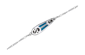 Sterling Silver 9 inch Figaro Ankle Bracelet with Blue Surfboard