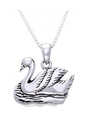 Sterling Silver 16 inch Swan Pendant Necklace on Box Chain