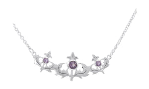 Sterling Silver 16 inch to 18 inch Adjustable Triple Scottish Thistle Necklace with Amethyst
