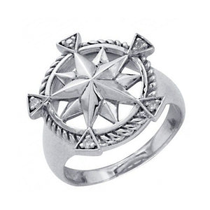 Sterling Silver Double Nautical Star Ring with Cubic Zirconia Accents