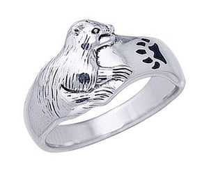 Sterling Silver Otter Ring with Black Paw Print