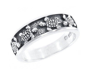 Sterling Silver Turtles Band Ring