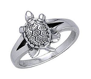 Sterling Silver Turtle Ring with Split Shank