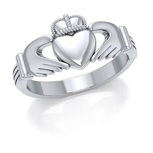 Sterling Silver Womens Classic Claddagh Ring