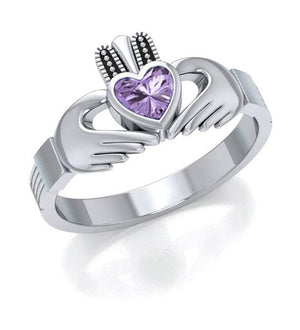 Sterling Silver Womens Claddagh Ring with Purple Glass Heart