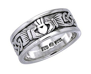 Sterling Silver Claddagh Band Ring with Celtic Knot Work