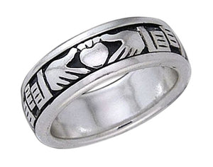 Sterling Silver Mens Claddagh Spinner Ring Band