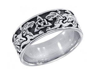 Sterling Silver Mens Celtic Dragon Band Ring