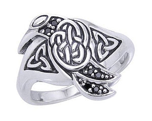 Sterling Silver Celtic Raven Bird Ring with Blue Accent Stones