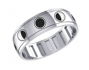 Sterling Silver Mens Black and White Moon Phases Spinner Band Ring
