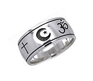 Sterling Silver Faiths Of the World Symbols Band Ring